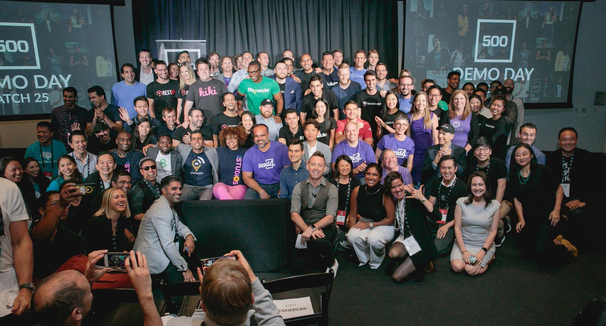 Batch 25 of 500 Startups' SF Accelerator pose after Demo Day, on August 22, 2019